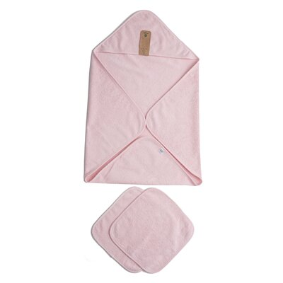Baby Organic Turkish Cotton Terry Hooded Nursery 3 Piece Towel Set Color: Pink