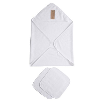 Baby Organic Turkish Cotton Terry Hooded Nursery 3 Piece Towel Set Color: White