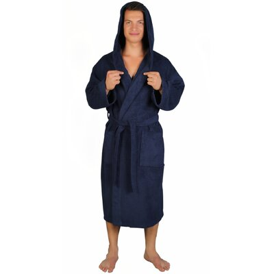 Classic Mens Bathrobe Turkish Terry Cotton Cloth Bathrobe Color: Navy Blue, Size: Small/Medium