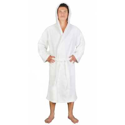 Skidmore Mens Bathrobe Turkish Terry Cotton Cloth Bathrobe Color: White, Size: Small/Medium