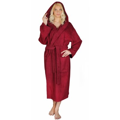 Classic Womens Turkish Terry Cotton Cloth Bathrobe Color: Burgundy, Size: Small/Medium