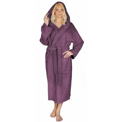 Classic Womens Turkish Terry Cotton Cloth Bathrobe Color: Plum, Size: Large/ Extra Large