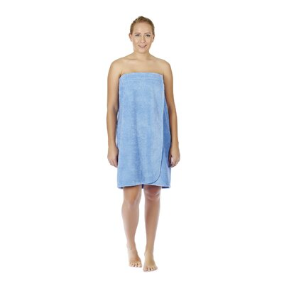 Womens Adjustable Closure on Chest Turkish Organic Cotton Spa Shower Bath Wrap Color: Sky Blue, Size: 61 L x 33 W