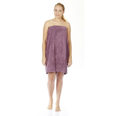 "Women's Adjustable Closure on Chest Turkish Organic Cotton Spa Shower Bath Wrap Color: Plum, Size: 58"" L x 28"" W"
