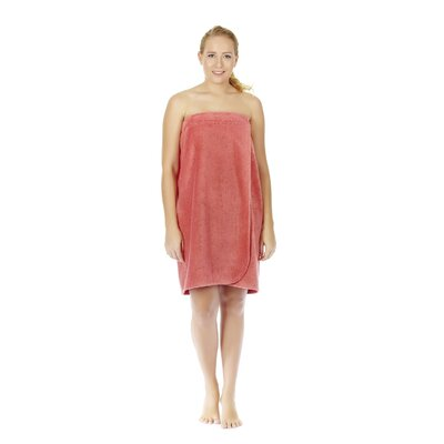 Womens Adjustable Closure on Chest Turkish Organic Cotton Spa Shower Bath Wrap Color: Coral, Size: 58 L x 28 W