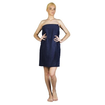 Womens Adjustable Closure on Chest Turkish Organic Cotton Spa Shower Bath Wrap Color: Navy Blue, Size: 61 L x 33 W