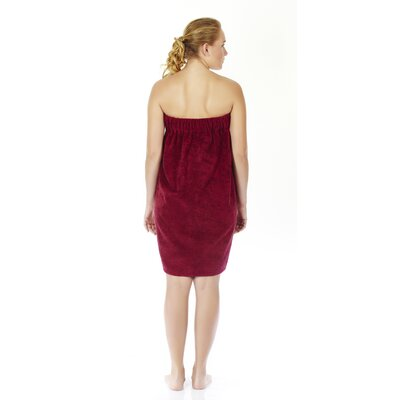 Womens Adjustable Closure on Chest Turkish Organic Cotton Spa Shower Bath Wrap Color: Burgundy, Size: 58 L x 28 W