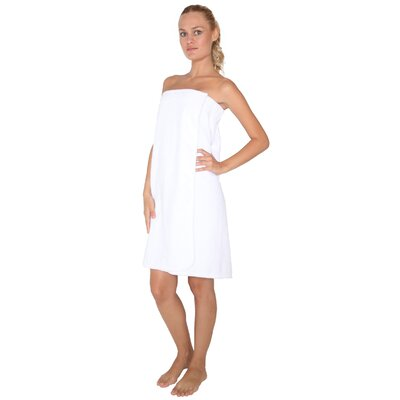 Womens Adjustable Closure on Chest Turkish Organic Cotton Spa Shower Bath Wrap Color: White, Size: 59 L x 30 W