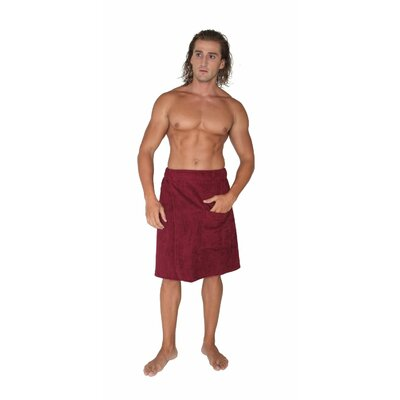 Mens Adjustable Closure on Waist Turkish Organic Cotton Spa Shower Bath Wrap Color: Burgundy, Size: 26 W