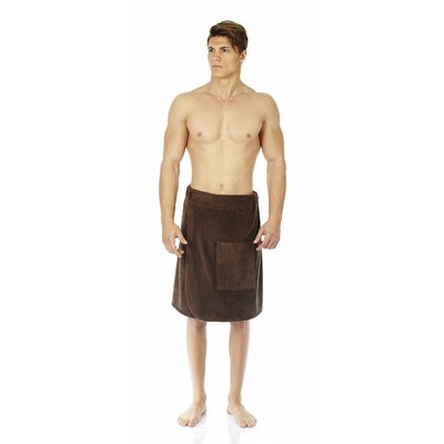 Mens Adjustable Closure on Waist Turkish Organic Cotton Spa Shower Bath Wrap Color: Chestnut, Size: 26 W
