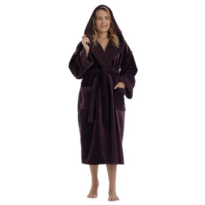 Women's Sherpa Trim Hooded Microfiber Velour Touch Fleece Bathrobe Size: Large, Color: Purple