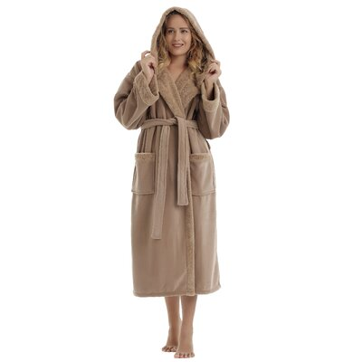 Womens Sherpa Trim Hooded Microfiber Velour Touch Fleece Bathrobe Size: Small/Medium, Color: Camel