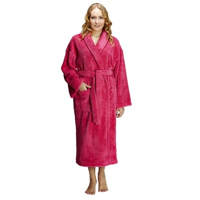 Geneve Womens Shawl Soft Touch Plush Bathrobe Size: Large, Color: Coral
