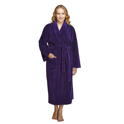 Geneve Womens Shawl Soft Touch Plush Bathrobe Size: Small, Color: Purple