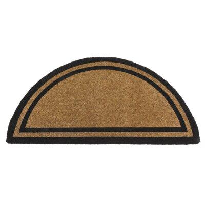 Border Doormat Color: Black, Rug Size: Half Round 2 x 4