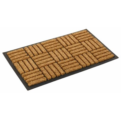 Inlaid Criss Cross Pattern Doormat Rug Size: Rectangle 2 x 33