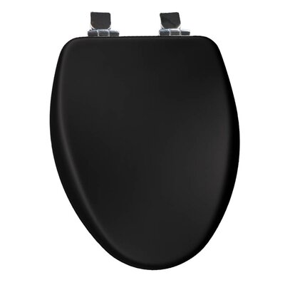 Church Wood Slow Close Elongated Toilet Seat Finish: Black, Hinge Finish: Chrome