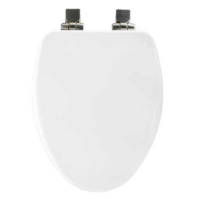 Church Wood Slow Close Elongated Toilet Seat Finish: White, Hinge Finish: Brushed Nickel
