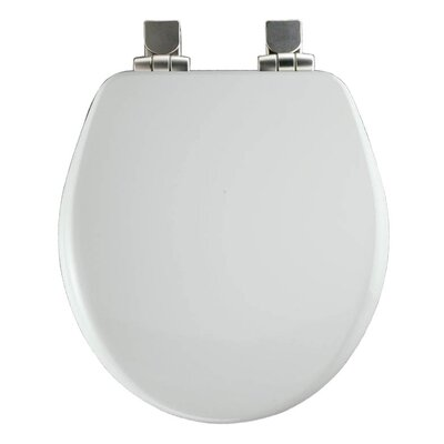 Church Wood Slow Close Round Toilet Seat Finish: White, Hinge Finish: Brushed Nickel