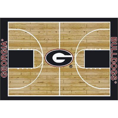 College Court Georgia Bulldogs Rug Rug Size: 109 x 132
