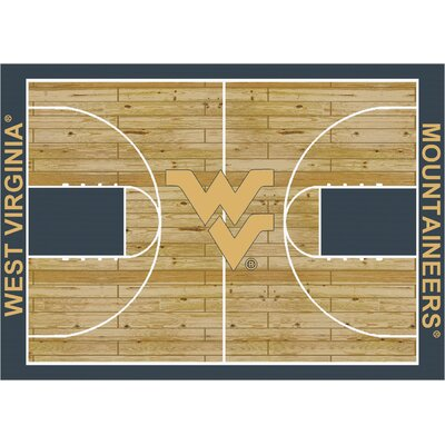 College Court West Virginia Mountaineers Rug Rug Size: 109 x 132
