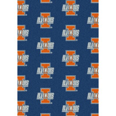 College Repeating NCAA Illinois Novelty Rug