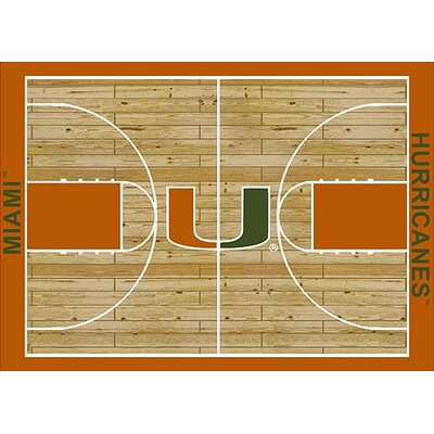 NCAA College Home Court Miami Novelty Rug Rug Size: 54 x 78