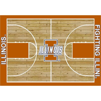NCAA Court Illinois Novelty Rug Rug Size: 54 x 78