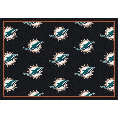 NFL Team Repeat Miami Dolphins Football Indoor/Outdoor Area Rug Size: 109 x 132