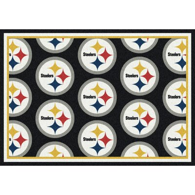 NFL Team Repeat Pittsburgh Steelers Football Indoor/Outdoor Area Rug Size: 109 x 132