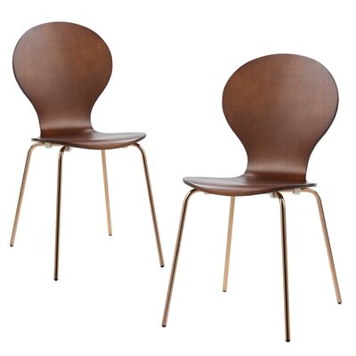2 Piece Contorno Bentwood Side Chair Finish: Walnut/Rose Gold