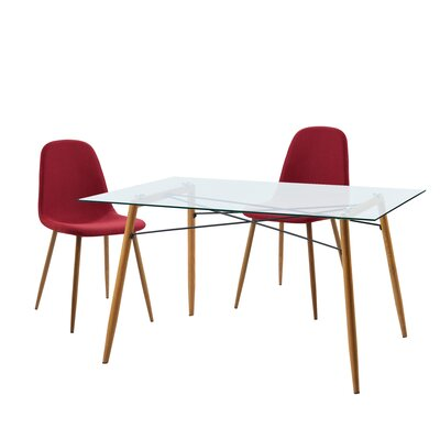Minimalista 3 Piece Dining Set Upholstery Color: Deep Red