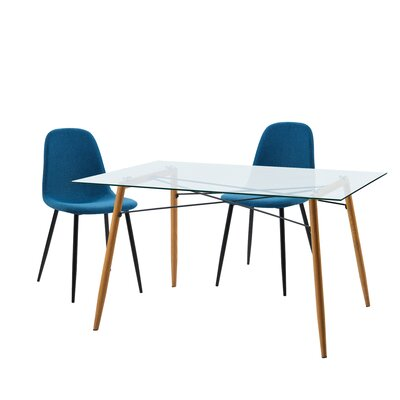 Minimalista 3 Piece Dining Set Upholstery Color: Blue