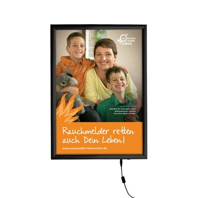 Smart LED Poster Box Size: 30 x 40, Color: Silver