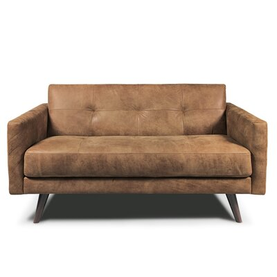Gary  Leather Loveseat Upholstery: Tobacco