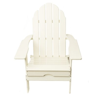 Poly Recycled Plastic Folding Adirondack Chair Finish: White