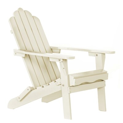 Poly Recycled Plastic Folding Adirondack Chair Finish: Sand