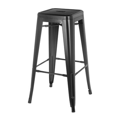 Cilla Metal Bistro 30 Bar Stool Finish: Black