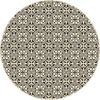 Hawtree Quad European Circle Design Black/Beige Indoor/Outdoor Area Rug