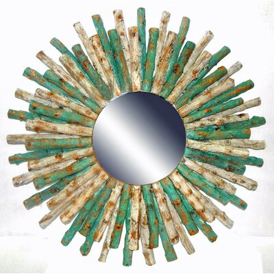 Drift Wood Sun Accent Mirror Finish: White Wash/Turquoise