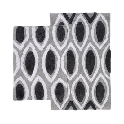 Amanda 2 Piece Bath Rug Set Color: Black/Grey