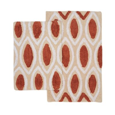 Amanda 2 Piece Bath Rug Set Color: Red/Ivory