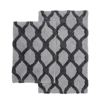 Amanda 2 Piece Bath Rug Set Color: Grey/Yellow
