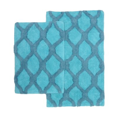 Amanda 2 Piece Bath Rug Set Color: Blue/Aqua