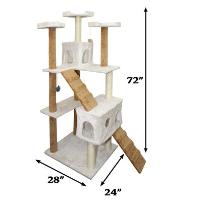72 Cat Tree Size: 72 H x 22 W x 28 D