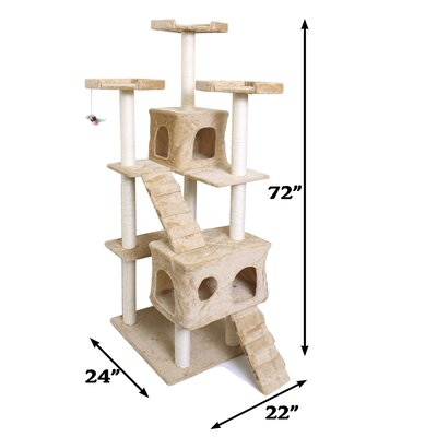 72 Cat Tree Size: 72 H x 22 W x 24 D