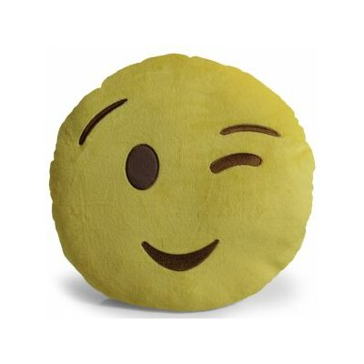 Emoji Wink Pillow Throw Pillow