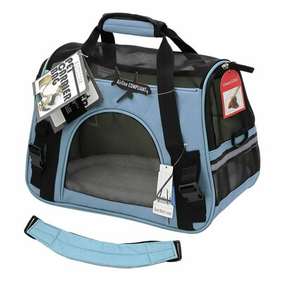 Pet Carrier with Fleece Bed Airline Approved Size: 19 H x 13 W x 10 D, Color: Blue