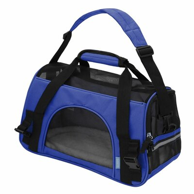 Pet Carrier with Fleece Bed Airline Approved Size: 17 H x 8 W x 11.5 D, Color: Dark Blue