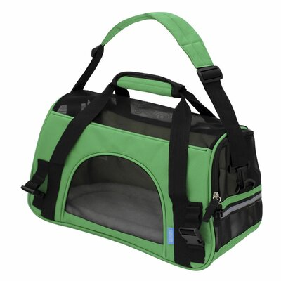 Pet Carrier with Fleece Bed Airline Approved Size: 17 H x 8 W x 11.5 D, Color: Green
